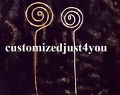 25 Place Card Holder Picks Photo Aluminum Jewelry Wire Swirl extra tall 15 inches tall gold or silver