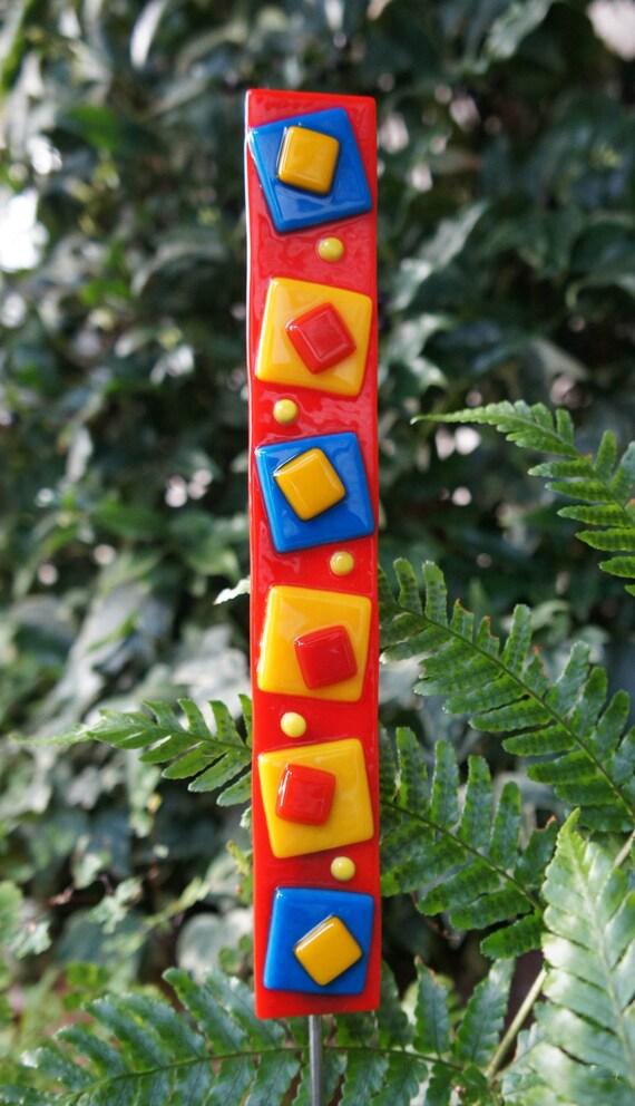 Outdoor Decor Garden Art - Red Blue Yellow Orange Fused Glass Stake