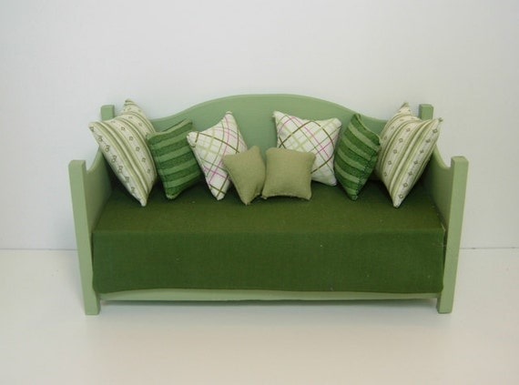 Dollhouse Miniature Handmade Green Daybed With Bedding And