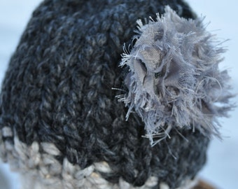 Baby Hat Prop - Chunky Knit Newborn Photo Hat with Fringe Flower - Charcoal Grey - Light Marble Gray
