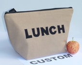 Custom Insulated Lunch Bag Tote Zip Adult Lunch Bag Choose your Fabrics Lunch Bag Made to order by BonTons