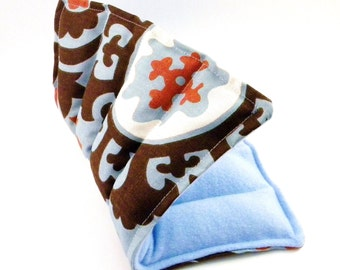 Hot Cold Therapy Pack, Medium Heating Pad, Microwaveable Heat Bag with Rice Flax - light blue brown damask