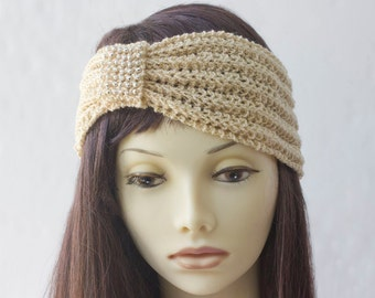SALE, Woman's Beaded Flapper '20s Headband,  1920s Style Head Wrap, Pale Gold Hand Knit  Ear Warmer, Ready to Ship