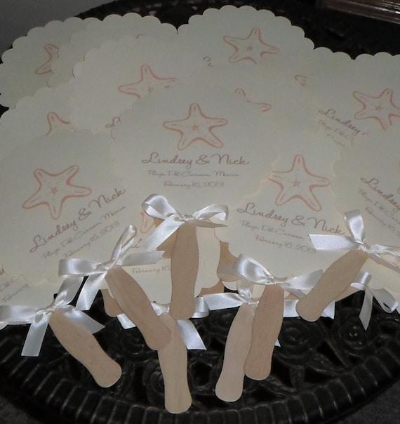 Wedding Fans Beach Wedding Seashells Monogram Fan Wedding
