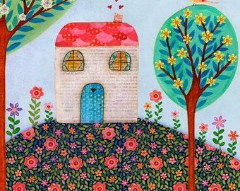 House Painting - Folk Art - House Wall Art - House Warming Gift - Home Decor - Wooden Art Block