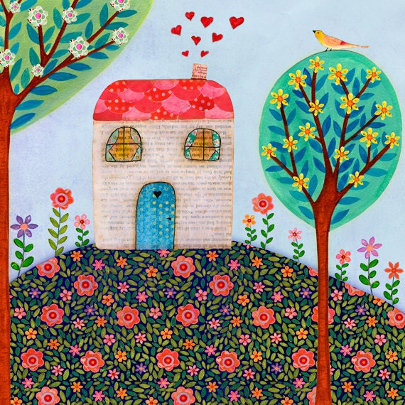 House Painting Folk Art House Wall Art House Warming