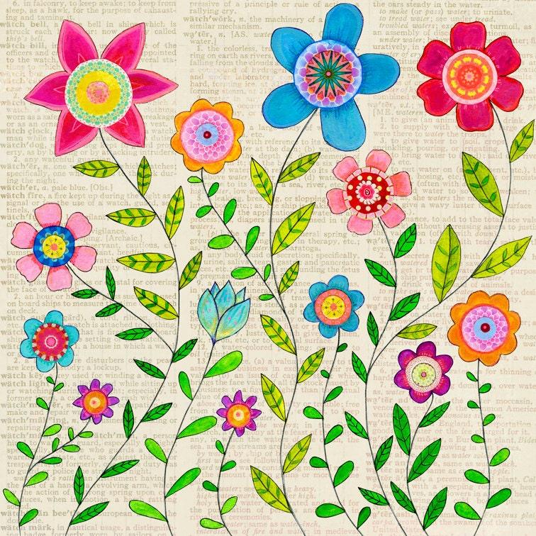 Boho Flowers Clip Art Bohemian Style Floral Clipart Floral  |Bohemian Style Flowers