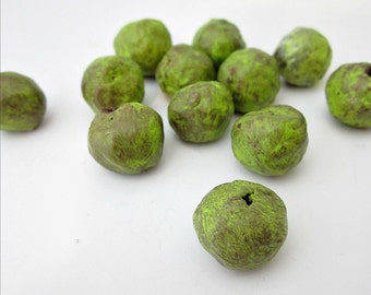 Handmade Old Gold and Green Rustic Paper Mache Beads, 10 pcs: Wasabi MADE TO ORDER