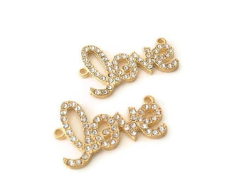 "2 ""love"" Charms / Links, Jewelry Making Supply,  Clear Color Rhinestones set in Gold Plated Alloy"