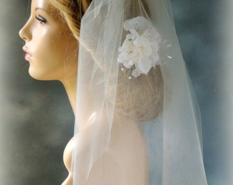 "Illusion Tulle Bridal Veil 21"", Bridal Veil Double Layer, Wedding Veil with Blusher"