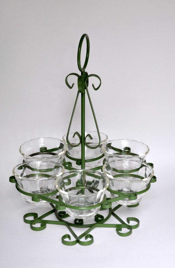 Vintage Green Metal Glass Holder