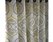 "Geometric Light Gold Damask Curtain Panels 52""x84"" Grommet Drapes Home Living Decor Housewares Valence Bedroom Window Treatments"