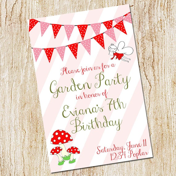 Garden Party Invitation - Birthday Party Invitation  -Digital File- Printable Invitation - Birthday- Fairy birthday