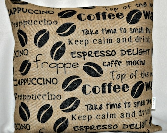 Coffee/Cappuccino Burlap Pillow Cover-18x18
