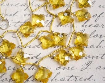 AAA Rose Cut Quatrefoil Lemon Quartz Briolette Beads,  3 Matched Pair 1/2Strand