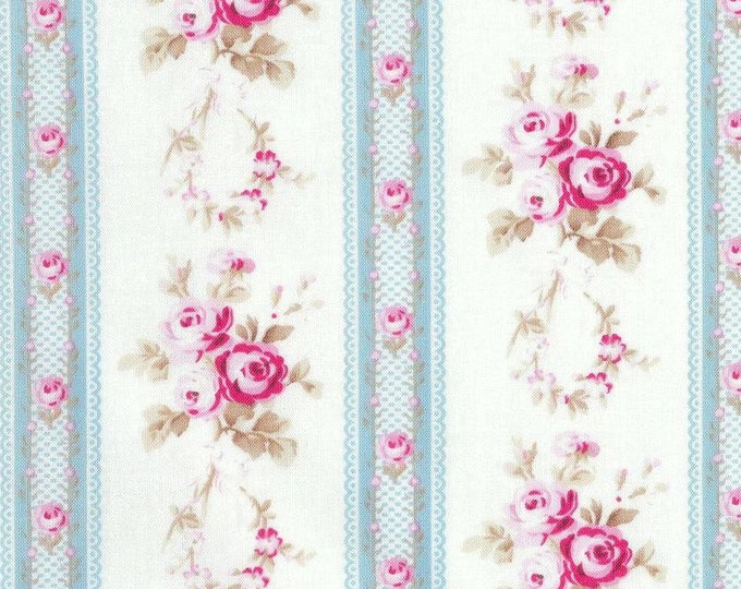 Tanya Whelan - Petals - Antique Ticking Roses TW56 Blue, select length