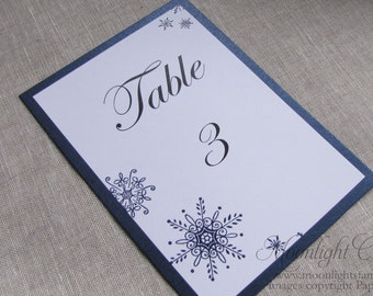Winter Wedding Table Number, Wedding Table Number Cards, Table Numbers