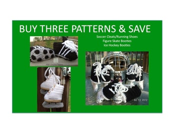 Instant Download - Buy Hockey Skates - Figure Skates - Soccer Cleats Crochet Patterns together and Save