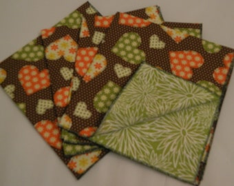 Heart Double Sided Reversible cotton napkins Set of 4  Eco Friendy Hand Made in the USA