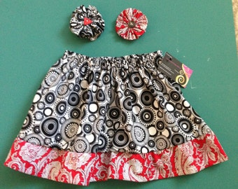 Girls black circles and red paisley fun skirt with matching hair clips  2/3 T