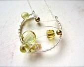 Limoncello Constellation Necklace - lemon quartz necklace, abstract dreamcatcher necklace, one of a kind lemon quartz ethereal necklace