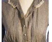 Antique Country Day Dress / Grey Pinstripe/Lace Trim / Titanic Era