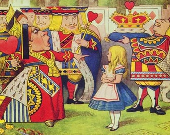 Queen of Hearts Alice in Wonderland mono deluxe Needlepoint Canvas