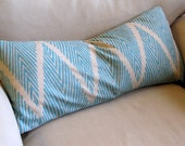 Ikat PEACOCK on Linen color field large bolster sofa pillow 12x26