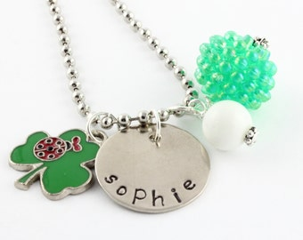 Personalized St. Patrick's Day Clover Ladybug Lucky Charm Necklace for Girls - Hand Stamped St. Paddy's Day Gift - Luck of the Irish