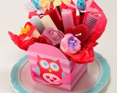 SALE Owl Gift Basket Candles and Candy Chocolate Flowers Basket Gift Candles Gift Handmade Beeswax Candles Soy Candles Handmade Owl Design