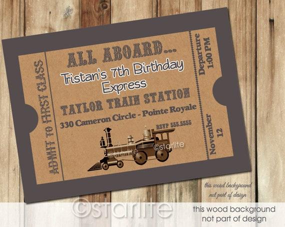 Train Ticket Birthday Invitation, Vintage Train Ticket Style Birthday Party Invitation, Boy Train Birthday Invitation, Printable, Printed