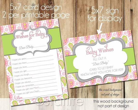 well wishes card baby shower wishes for baby pink green paisley