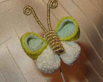 Kanzashi Japanese Handmade Crepe Fabric Butterfly on Wire for Handicrafting Kanzashi Hair Ornament
