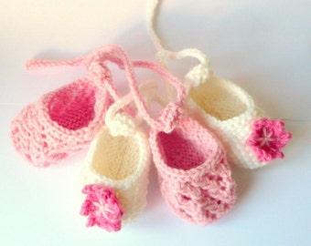 Booties Knitting Pattern  - Baby Ballerina Shoes  - Newborn - 2yrs