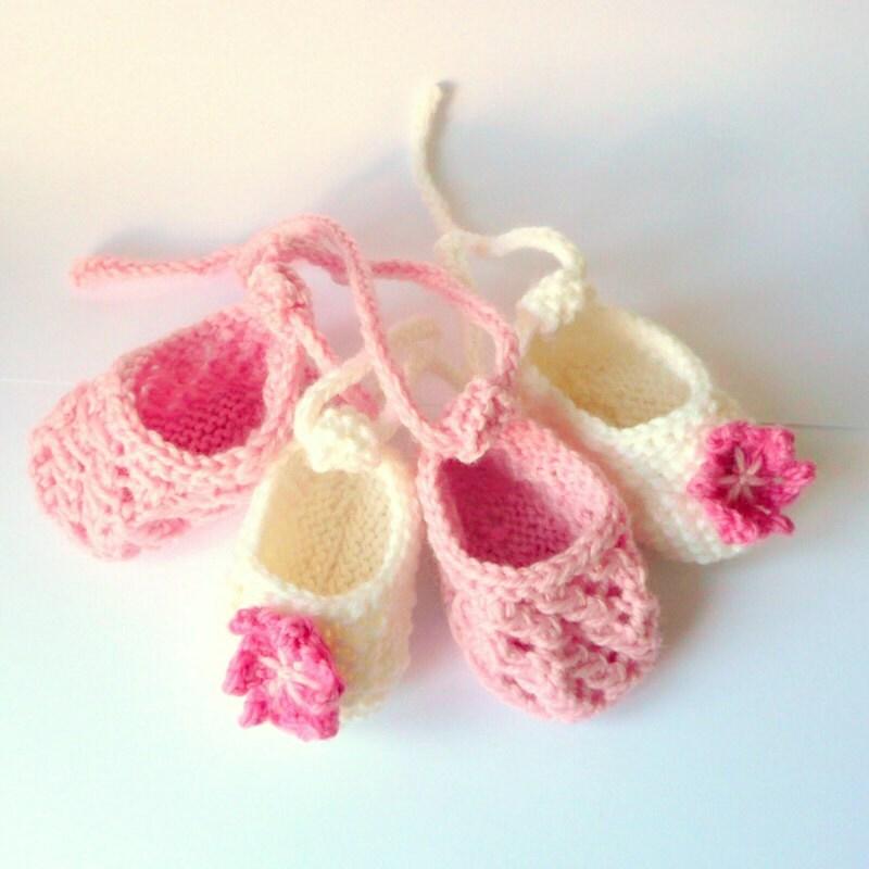 Tiny Baby Booties Knitting Pattern : Booties Knitting Pattern Baby Ballerina Shoes Newborn
