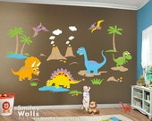 Dinosaurs Wall Decal HUGE Set Dino Dinosaurs Wall Decal DInosaurs Sticker Animals Baby Nursery Kids Playroom Vinyl Wall Decal Sticker Decor