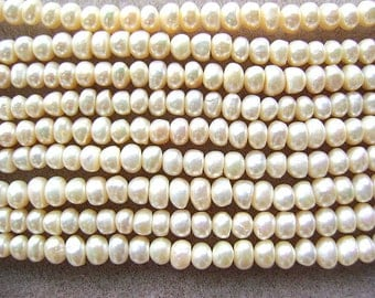 PEARLS, Rondelle, GENUINE,Creamy, WHITE,Wheel, Heishi, 5-6mm, Center Drill, Flat, 16 Inch, Sale, Button