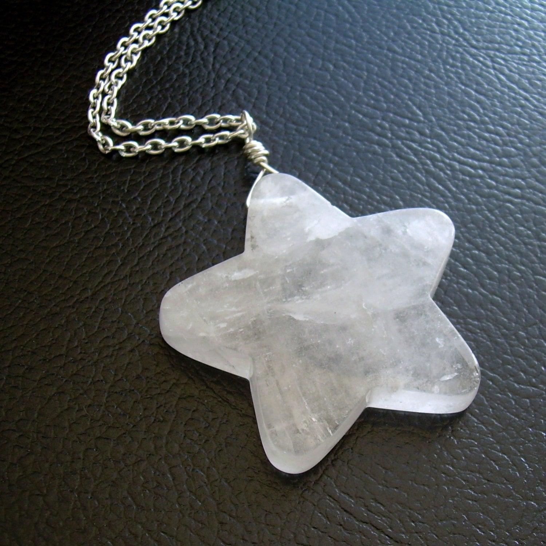 crystal star necklace white quartz pendant gem stone jewelry. Black Bedroom Furniture Sets. Home Design Ideas