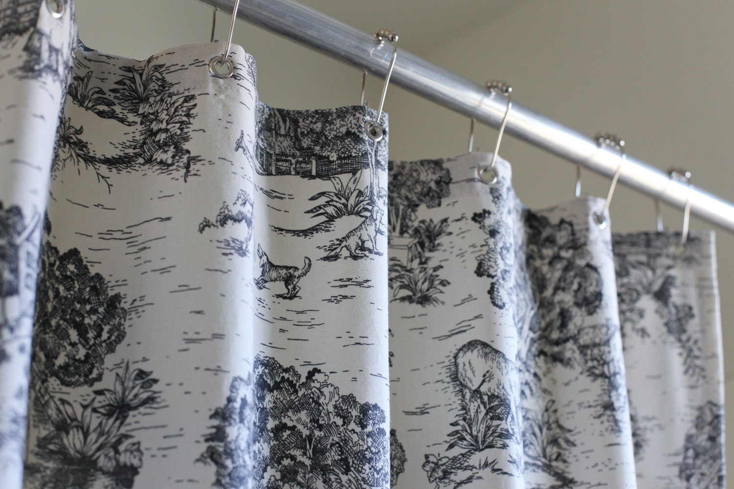 Black toile shower curtain - Toile Shower Curtain 2 Colors In Stock 72x72 By Modernfolkshop