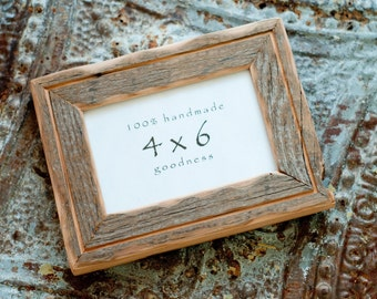 4x6 Reclaimed Barn wood distressed rustic picture frame with inner routered line .... upcycled weathered barnwood