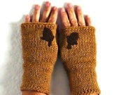 Knit Fingerless Mittens Light Brown Gloves Womens Gloves Warm Gloves Winter Accessories Fall Fashion Gloves Acorn Driving Gloves