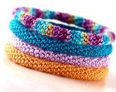 Crochet Bracelet Fiber Bracelet  Bangle Fine Thread Icord Pale Orange Teal Light Purple Berry Turquoise