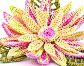 Crochet Brooch Fiber Brooch Irish Crochet Pin Daisy Brooch  Pink Yellow Chartreuse Green Crochet Flower Pin Crochet Flower Brooch