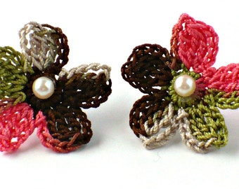 Flower Crochet Earrings Hypoallergenic Stud Earrings Chocolate Brown Salmon Olive Green Beige