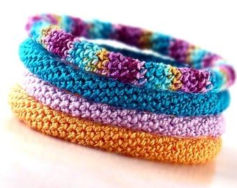 Crochet Bracelet Fiber Bracelet  Bangle Fine Thread Icord Pale Orange Teal Light Purple Berry Turquoise