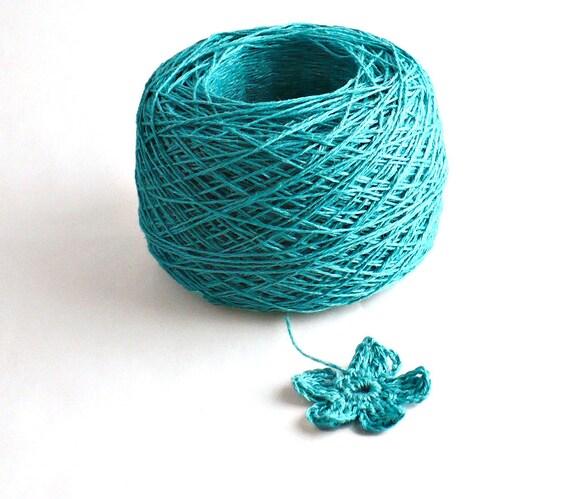 Crochet Thread 3 Ply Linen Thread Blue Green Linen Yarn Natural Fiber Tatting Thread Specialty Thread