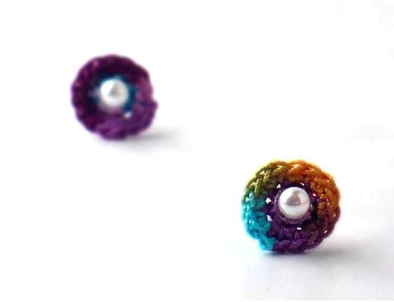 Crochet Earrings Stud Earrings Mini Circles Round Earrings Purple Berry Orange Teal Spring Green Turquoise Small Earrings Little Earrings