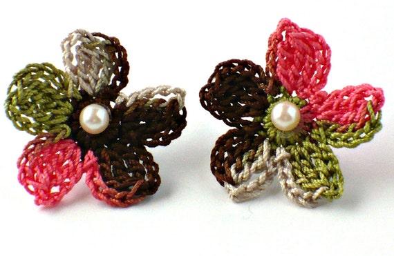 Flower Crochet Earrings Hypoallergenic Stud Earrings Chocolate Brown Salmon Olive Green Beige