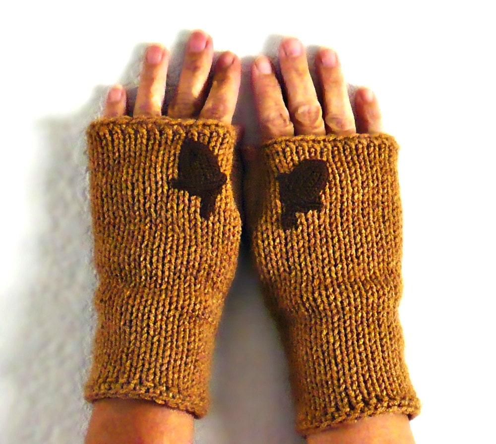 Knit Fingerless Mittens Light Brown Gloves Womens Gloves Warm-1754