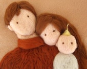"Personalized - 3D NeedleFelted Tapestry - Family - Wool Needle Felted  Painting - Art - "" Now we are three "" - Made to order"